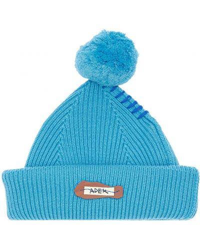 Wełniany niebieski czapka z łatami Ader Error