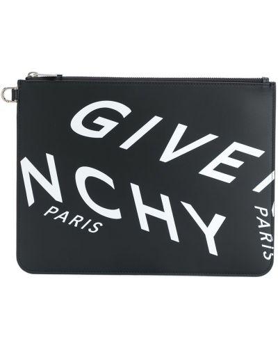 Czarna kopertówka skórzana z printem Givenchy