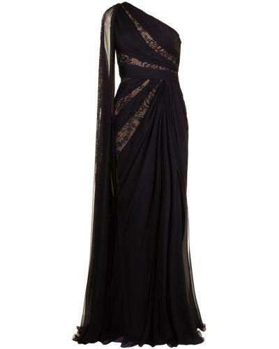 Кружевное черное платье макси из фатина Zuhair Murad