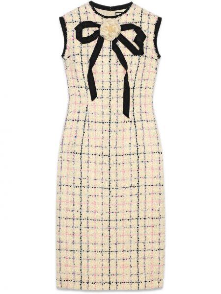 Приталенное классическое розовое платье миди на молнии Gucci