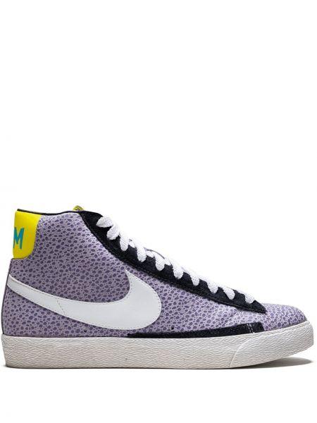 Фиолетовый пиджак с заплатками на шнурках Nike
