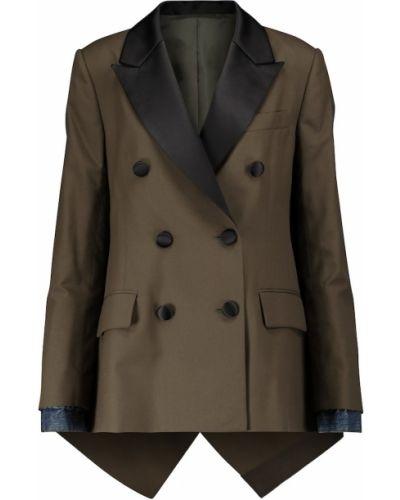 Шерстяной коричневый классический пиджак двубортный Sacai