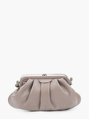 Кожаная сумка через плечо - серая Keddo