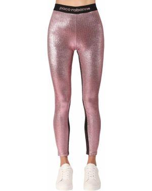 Розовые брюки на резинке стрейч с нашивками с люрексом Paco Rabanne