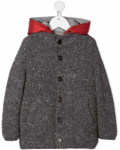 Серое пальто с капюшоном на пуговицах Brunello Cucinelli Kids