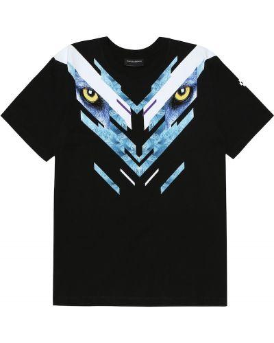 Czarny t-shirt bawełniany Marcelo Burlon Kids Of Milan