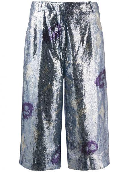 Хлопковые синие короткие шорты с карманами Jacquemus