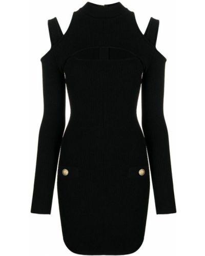 Czarna sukienka midi elegancka z długimi rękawami Balmain