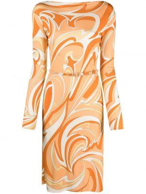 Оранжевое прямое платье Emilio Pucci