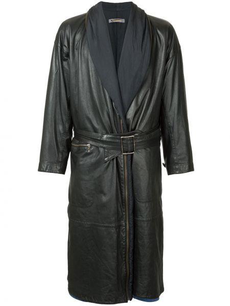 Кожаное черное пальто винтажное Issey Miyake Pre-owned