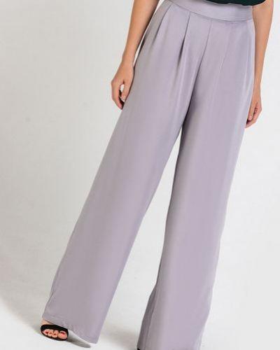 Повседневные расклешенные серые брюки с защипами Vovk