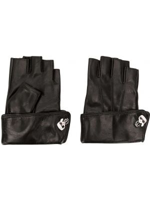 Перчатки без пальцев кожаные черные Karl Lagerfeld