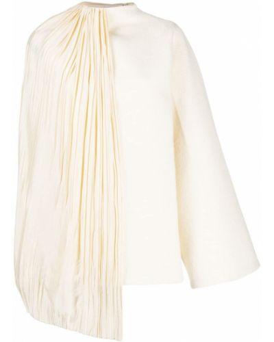 Biała narzutka wełniana asymetryczna Jil Sander
