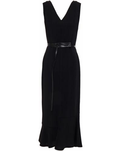 Кожаное платье миди - черное Victoria Beckham
