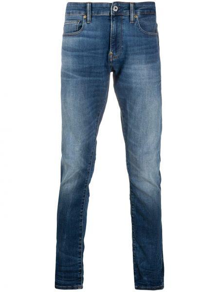 Хлопковые синие джинсы-скинни с низкой посадкой G-star Raw