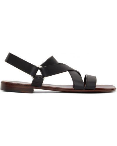 Skórzany czarny sandały rzep Giuseppe Zanotti