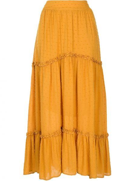 Оранжевая асимметричная с завышенной талией юбка миди в рубчик Auguste