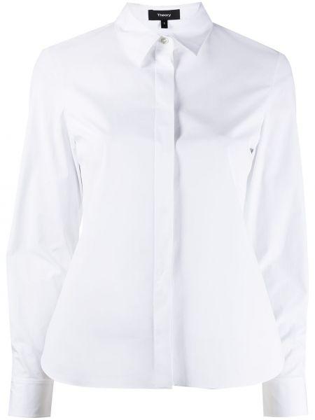 Хлопковая белая классическая рубашка с длинными рукавами Theory