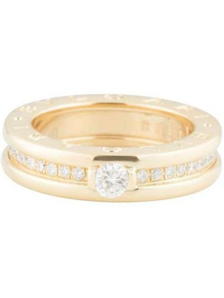 Żółty złoty pierścionek z diamentem Bvlgari