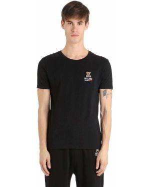Czarny t-shirt bawełniany z haftem Moschino Underwear