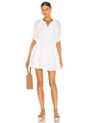 Деловое белое платье мини с декольте Cleobella