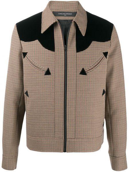 Brązowa długa kurtka wełniana z długimi rękawami Garçons Infideles