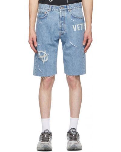 Włókienniczy czarny dżinsowe szorty z kieszeniami z łatami Vetements