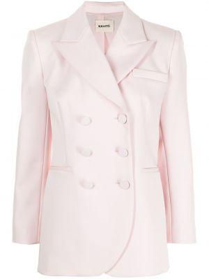 Розовый удлиненный пиджак двубортный с карманами Khaite
