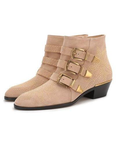 Бежевые кожаные ботинки с заклепками Chloé