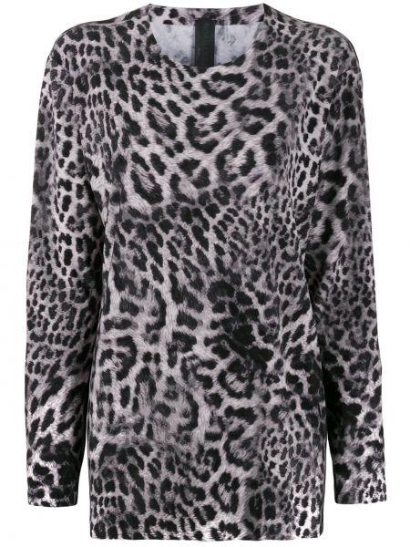 Блузка с длинным рукавом в полоску с леопардовым принтом Norma Kamali