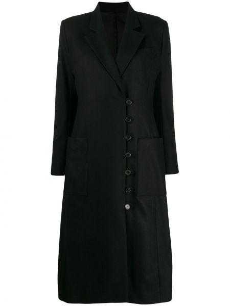 Klasyczny czarny płaszcz wełniany Aalto