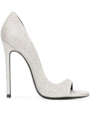 Серебряные туфли-лодочки на каблуке Maison Ernest