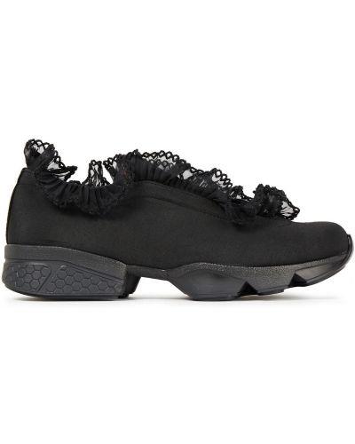 Czarne sneakersy skorzane koronkowe Ganni