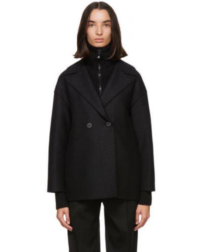 С рукавами черная длинная куртка с воротником Harris Wharf London