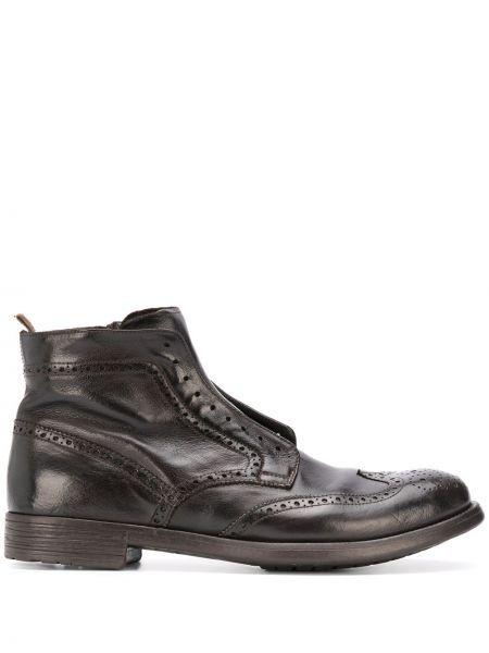 Brązowy koronkowa buty na wysokości zasznurować z prawdziwej skóry Officine Creative