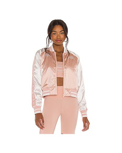 С рукавами вязаная розовая куртка на молнии Kappa