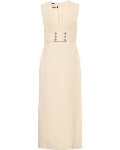 Белое шелковое платье миди Gucci