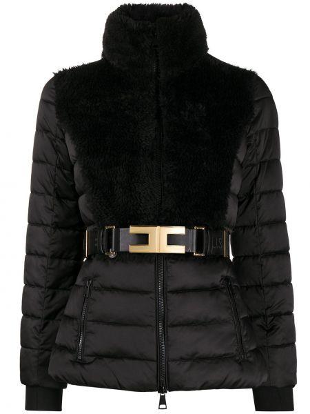 Черная длинная куртка с длинными рукавами Elisabetta Franchi