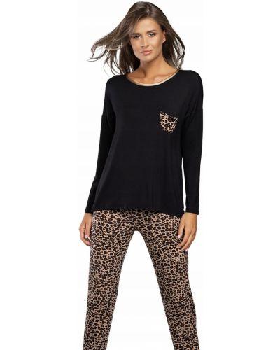 Czarna piżama z długimi rękawami z wiskozy Italian Fashion