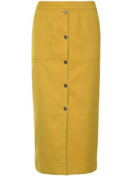 Желтая прямая юбка миди на молнии в рубчик Guild Prime