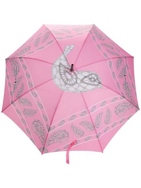 Różowy automatyczny parasol z printem Natasha Zinko