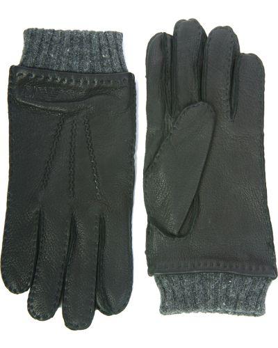 Черные кожаные перчатки Armani Jeans