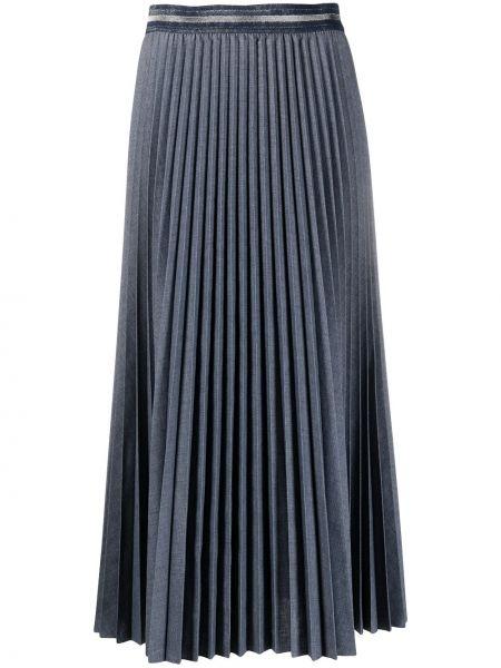 Серая плиссированная юбка миди с поясом Luisa Cerano