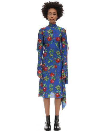 Платье макси длинное - синее Vetements