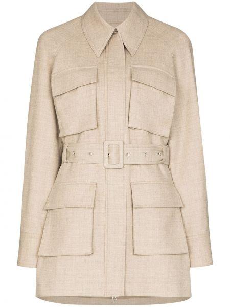 Шерстяная коричневая куртка с воротником Low Classic