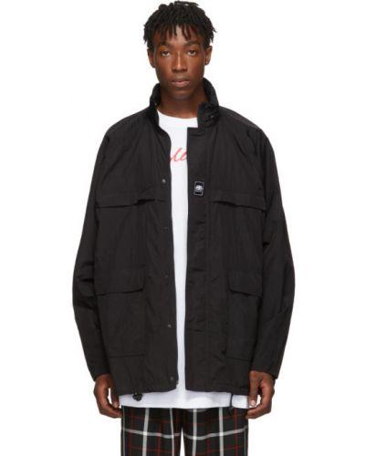 Czarny długi płaszcz z kołnierzem z kieszeniami z mankietami Balenciaga