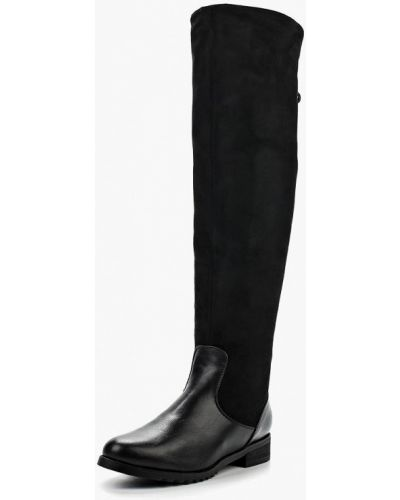 Ботфорты на каблуке кожаные черные Zenden Woman