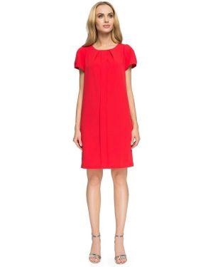 Czerwona sukienka koktajlowa elegancka asymetryczna Stylove