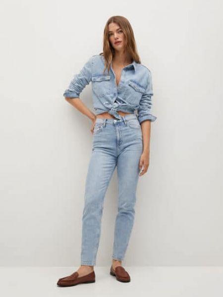 Синие с завышенной талией прямые джинсы Mango