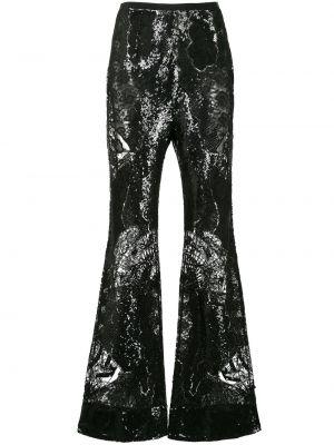 Ажурные черные расклешенные брюки с пайетками Zuhair Murad
